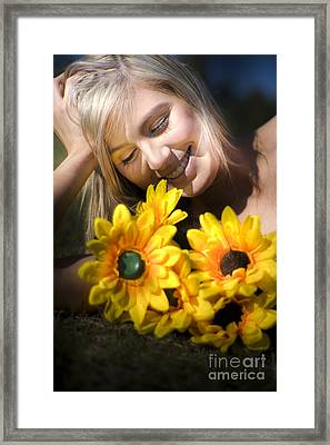 Happy Woman With Sunflowers Framed Print by Jorgo Photography - Wall Art Gallery