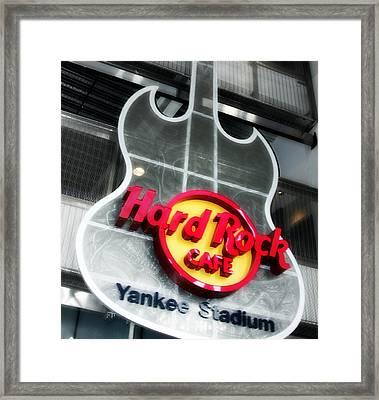 Hard Rock Cafe Sign At New Yankee Stadium Framed Print by Aurelio Zucco