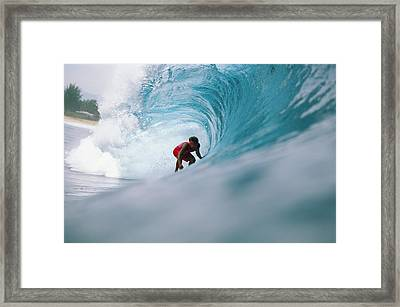 Hawaii, Oahu, North Shore, Pipeline, David Cantrell Crouching In Tube, Drags Hand In Curling Wave Framed Print by Vince Cavataio