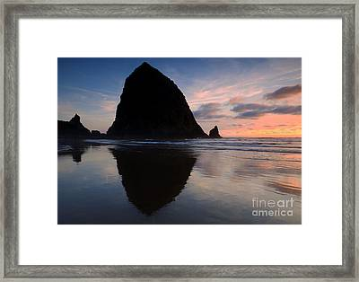 Haystack Reflections Framed Print by Mike  Dawson