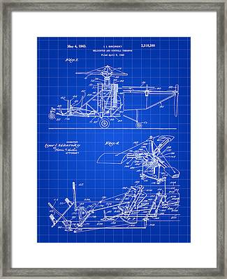 Helicopter Patent 1940 - Blue Framed Print by Stephen Younts