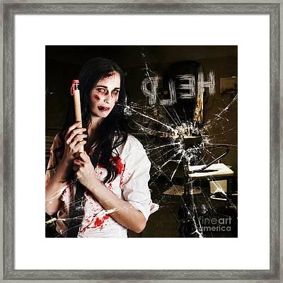 Help. Creepy Hospital Patient In Horror Asylum Framed Print by Jorgo Photography - Wall Art Gallery
