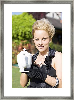High Tea Woman Framed Print by Jorgo Photography - Wall Art Gallery
