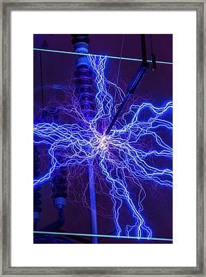 High Voltage Electrical Discharge Framed Print by David Parker