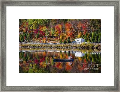 Highway Through Fall Forest Framed Print by Elena Elisseeva
