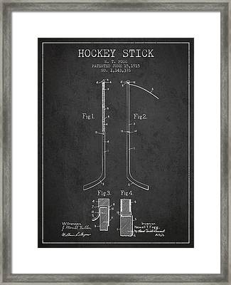 Hockey Stick Patent Drawing From 1915 Framed Print by Aged Pixel
