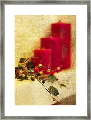 Holiday Candles Framed Print by Rebecca Cozart