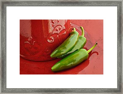 Hot Peppers Framed Print by Terry Ellis