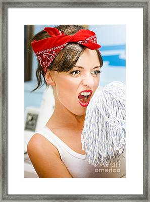 House Cleaning Fun Framed Print by Jorgo Photography - Wall Art Gallery