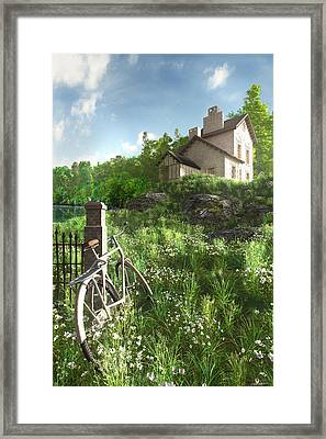 House On The Hill Framed Print by Cynthia Decker