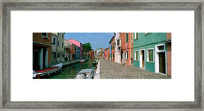 Houses Along A Canal, Burano, Venice Framed Print by Panoramic Images