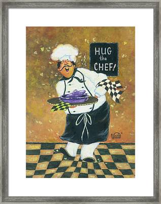 Hug The Chef Framed Print by Vickie Wade