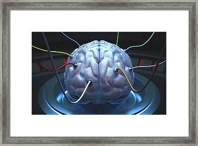 Human Brain With Sensors Framed Print by Ktsdesign