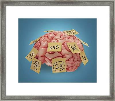 Human Brain With Sticky Notes Framed Print by Ktsdesign