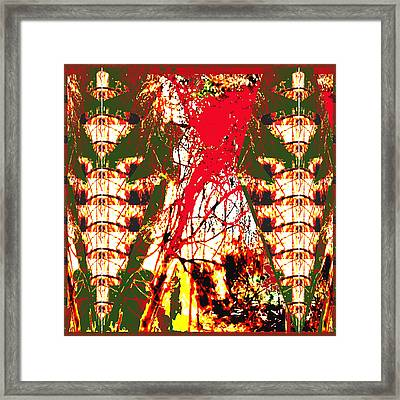 Human Like Totem Pole Angel And Fire In The Jungle Abstract Using Nature Photography Unique Signatur Framed Print by Navin Joshi
