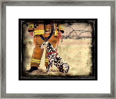 Hurricane Sandy Fireman And Dog Framed Print by Jessica Cirz