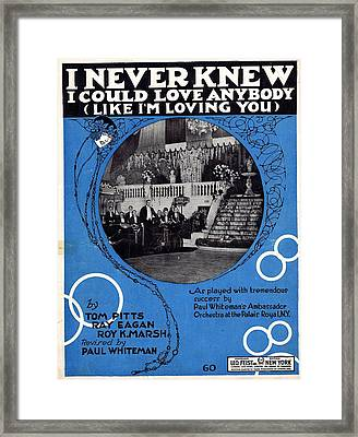 I Never Knew I Could Love Anybody Framed Print by Mel Thompson