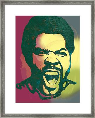 Ice Cube - Stylised Drawing Art Poster Framed Print by Kim Wang