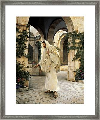 In His Constant Care Framed Print by Greg Olsen