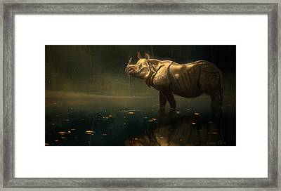 Indian Rhino Framed Print by Aaron Blaise
