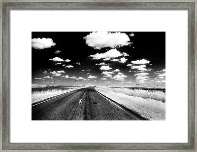 Infrared Photo Of Prairie Road Framed Print by Donald  Erickson