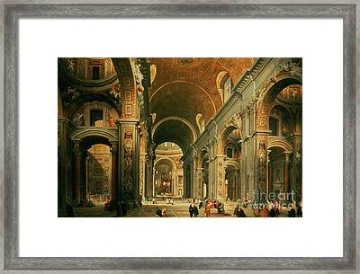 Interior Of St Peters In Rome Framed Print by Giovanni Paolo Panini