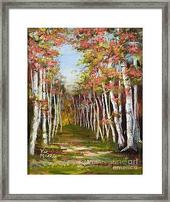 Into The Woods-series With Gold Leaf By Vic Mastis Framed Print by Vic  Mastis