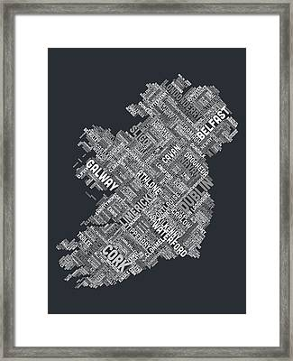 Ireland Eire City Text Map Framed Print by Michael Tompsett