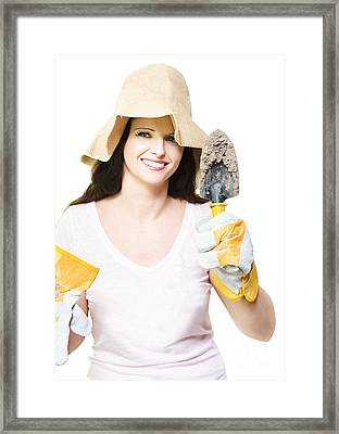 Isolated Beautiful Lady Gardener Framed Print by Jorgo Photography - Wall Art Gallery