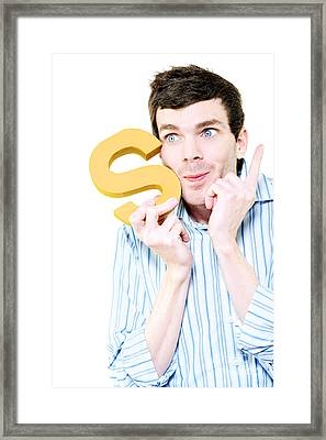 Isolated Businessman With S For Solution On White Framed Print by Jorgo Photography - Wall Art Gallery