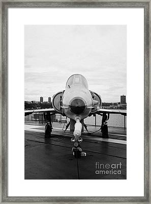 Israel Aircraft Industries Kfir On Disply On The Flight Deck At The Intrepid Sea Air Space Museum  Framed Print by Joe Fox