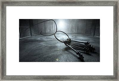 Jail Break Keys And Prison Cell Framed Print by Allan Swart