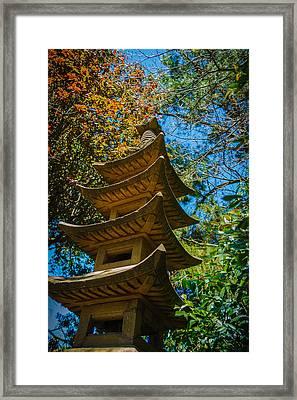 Japanese Shrine In The Garden Framed Print by Sarit Sotangkur