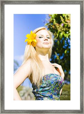 Jaunty Beauty With Flower Framed Print by Jorgo Photography - Wall Art Gallery