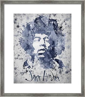 Jimi Hendrix Portrait Framed Print by Aged Pixel