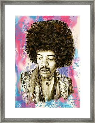 Jimi Hendrix Stylised Pop Art Drawing Potrait Poster Framed Print by Kim Wang