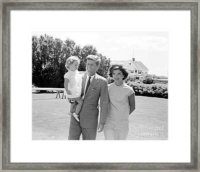 John F. Kennedy With Jacqueline And Caroline 1959 Framed Print by The Phillip Harrington Collection