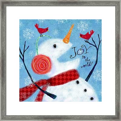 Joyful Snowman Framed Print by Valerie Drake Lesiak