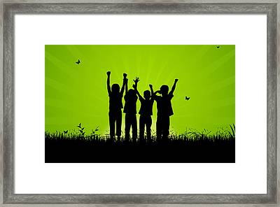 Jumping Kids Framed Print by Aged Pixel
