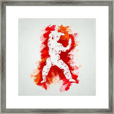 Karate Fighter Framed Print by Aged Pixel