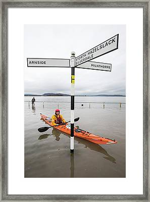 Kayakers In The Flood Waters Framed Print by Ashley Cooper
