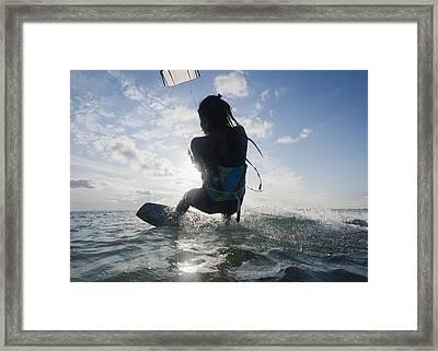 Kitesurfing Tarifa, Cadiz, Andalusia Framed Print by Ben Welsh