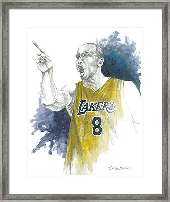 Kobe Bryant Framed Print by Christiaan Bekker