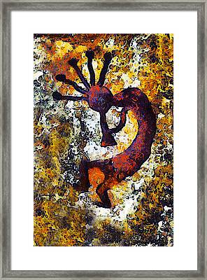 Kokopelli The Flute Player Framed Print by Barbara Snyder