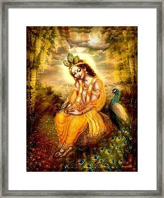 Krishna With The Peacock Framed Print by Ananda Vdovic
