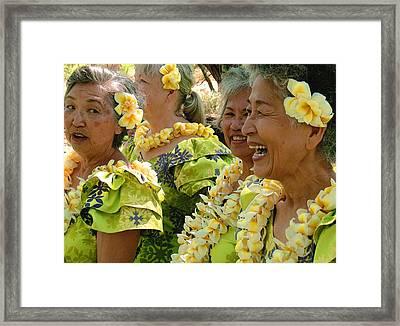 Kupuna Dancers Framed Print by James Temple