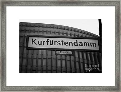 Kurfurstendamm Street Sign Berlin Germany Framed Print by Joe Fox