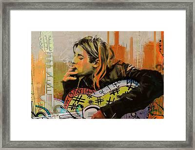 Kurt Cobain Framed Print by Corporate Art Task Force