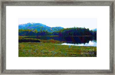 Lakeside Awakes Framed Print by Dorinda K Skains