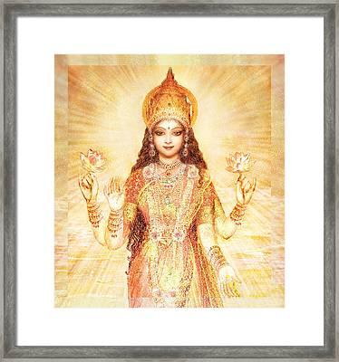 Lakshmi The Goddess Of Fortune And Abundance Framed Print by Ananda Vdovic